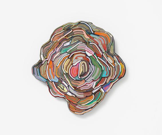 The Seven Deaths of Evelyn Hardcastle, cut books, textiles, screws, app.: Ø 62 x 4 cm, 2021