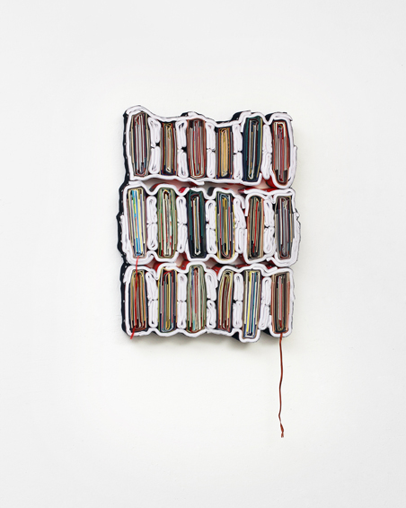 49 Stories - Hemingway, cut bookcovers, catalogues, textiles, screws, app. 62x47x7 cm, 2012