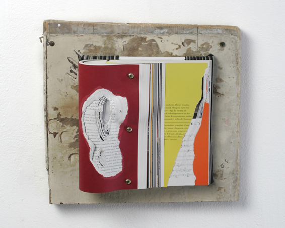 Accademia Tedesca Roma - Villa Massima, cut book, canvas, screws, wood, app.: 35 x 34 x 10, 2010