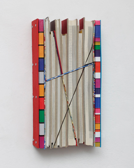 American Avantgarde, cut books, textiles, screws, app. 31 x 16 x 6 cm, 2015