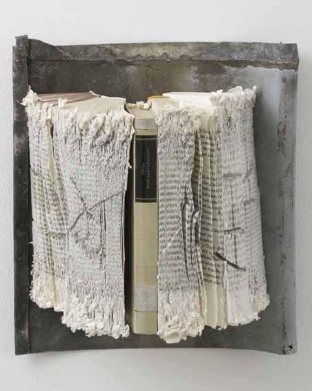 Briefe und Dokumente, Geschnittene Bücher, Zink, 29 x 27 x 12, 2009