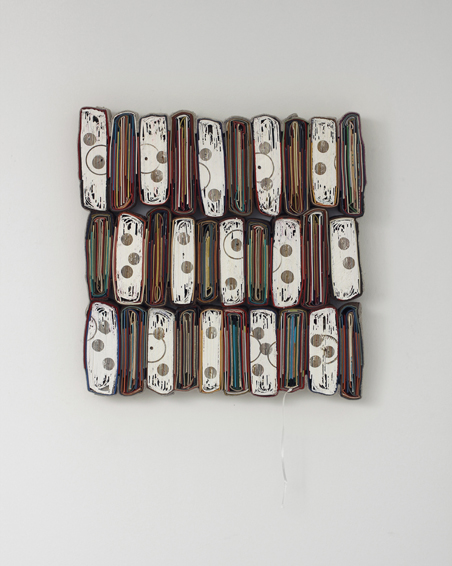 Das Paradies, cut book covers, textiles, screws, 58 x 57 x 6 cm, 2012