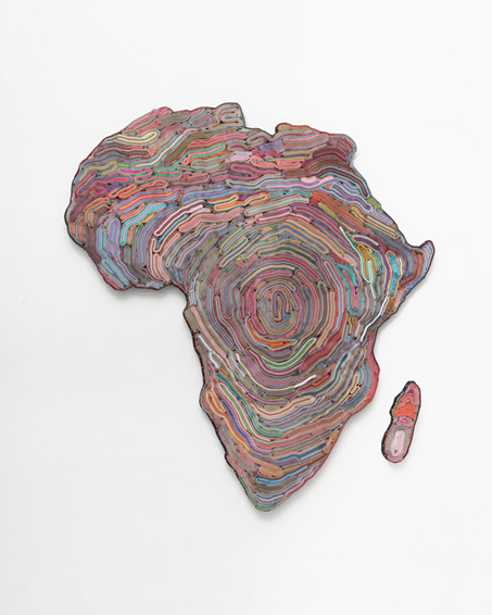 Deep down in the Heart of Africa, cut paper, book covers, textiles, screws, App: 152 x 142 x 4 cm , 2019