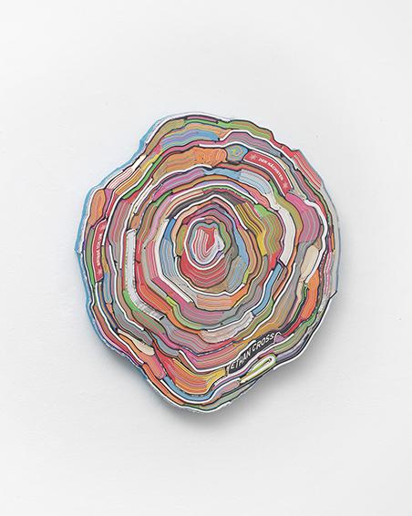 Den nächsten Ethan Cross bringe ich um, geschn. Bücher, Textilien, Schrauben, ca. Ø 60 x 6 cm, 2014