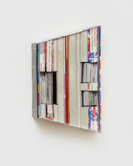 Der Wanderer, cut books, textiles, screws, app. 30 x 19 x 7 cm, 2015