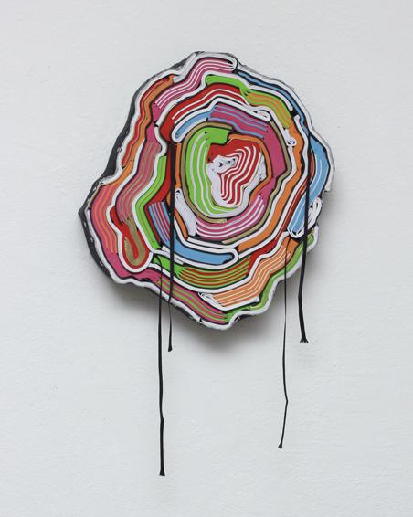 Der kleine Skandal, geschn. Bücher, Textilien, Schrauben, ca. Ø 30 x 6 cm, 2012