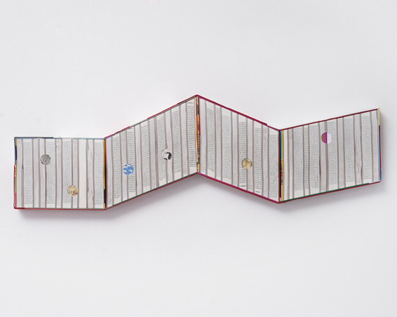 Flash Gordon, cut books, textiles, screws, app. 101 x 20 x 4 cm, 2017