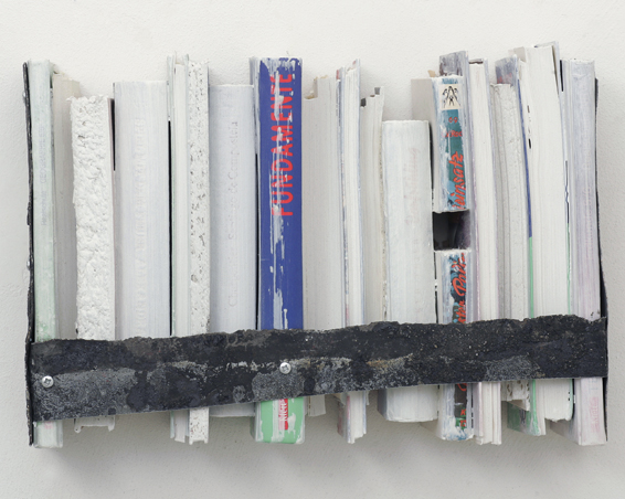 Fundamente, cut books, acrylic, zinc, 37 x 25 x 10, 2009