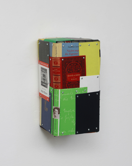 Gryphius, cut bookcovers, screws, app 43x23x20 cm, 2013