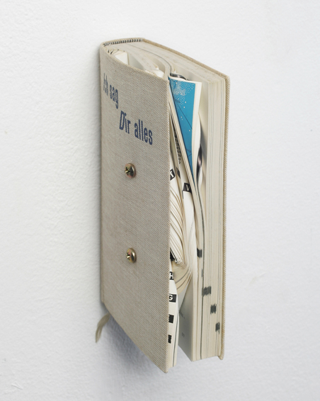 Ich sag Dir Alles, folded pages (book), screws, 19 x 4 x 12, 2010