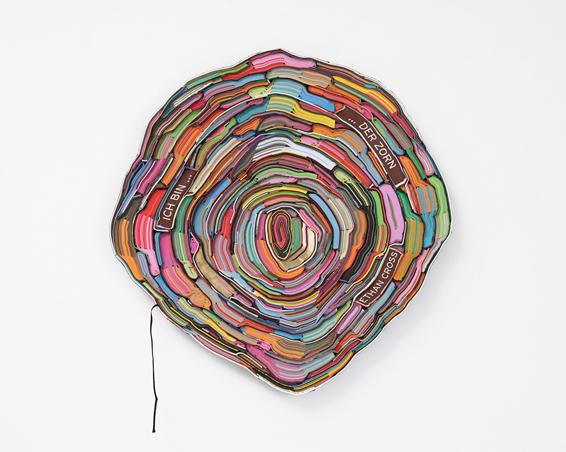 Ich bin... ... der Zorn, geschn. Bücher, Textilien, Schrauben, ca. Ø 65 x 4 cm, 2017