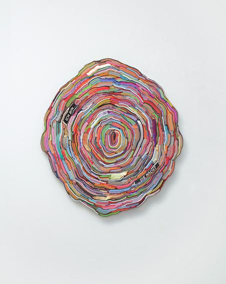 Ich bin die Nacht, geschn. Bücher, Textilien, Schrauben, Ø ca. 90 x 6 cm, 2015