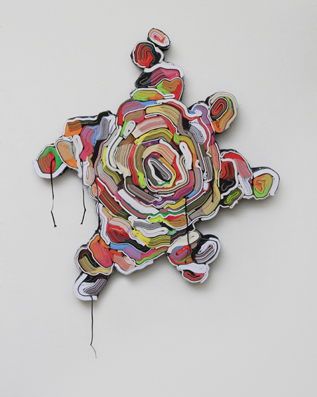 Lady Hamilton, cut books, textiles, screws, app.100 x 90 x 6 cm, 2013
