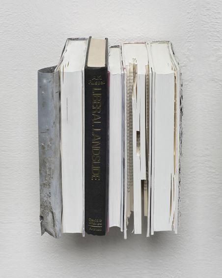 Liberal Landslide, Bücher, Zink, Plakat, Schrauben, Acryl, 23 x 16 x 18, 2008