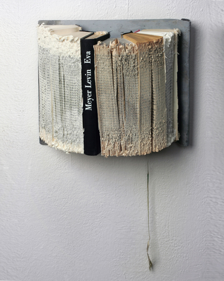 Meyer Levin - Eva, cut books, zinc, 27 x 23 x 12, 2009