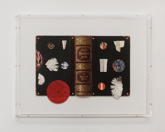 Meyers Konversations Lexikon II Langenbeck - Mauri, book covers, book pages, screws, app. 55 x 42x 5 cm (perspex box), 2014