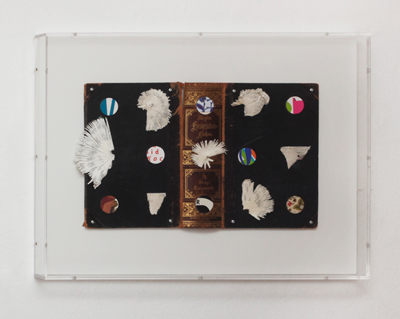 Meyers Konversations Lexikon 16 Sirup - Turkmenen, book covers, book pages, screws, app. 55 x 42x 5 cm (perspex box) , 2014