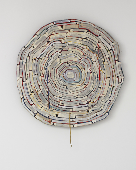 Moby Dick, cut books, textiles, screws, app. Ø 83 x 6 cm, 2012