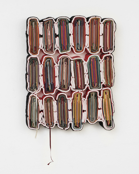 Nackt kam die Fremde, cut bookcovers, catalogues, textiles, screws, app.58 x 45 x 8 cm, 2011