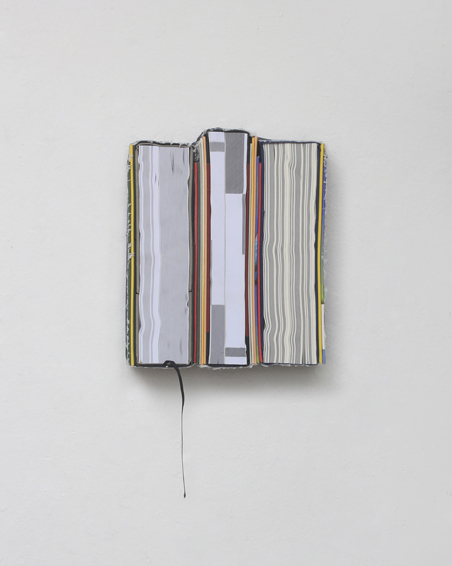 Nederlands Woordenboek, cut books, textiles, screws, app. 26 x 21 x 6 cm, 2013