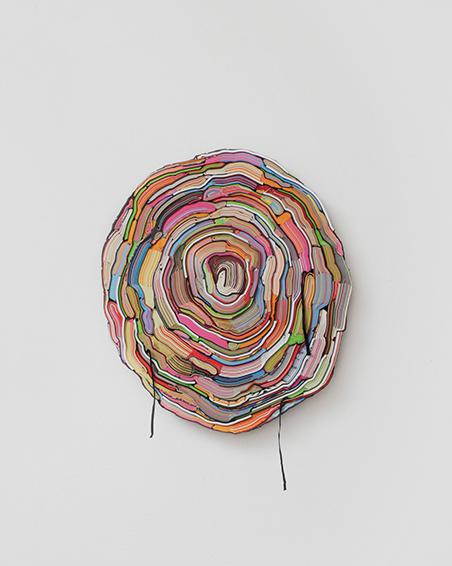 Oktoberreisen mit einer Geliebten, geschn. Bücher, Textilien, Schrauben, ca. Ø 60 x 6 cm, 2014