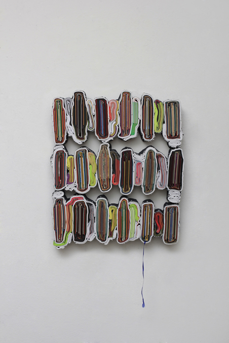 Robinson Crusoe, cut books, textiles, screws, app. 61 x 52 x 6 cm, 2013