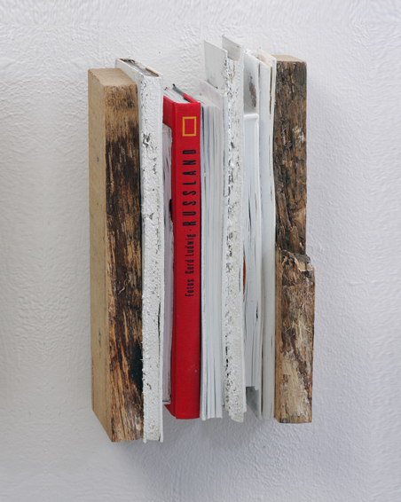 Russland, cut books, wood, acrylic, 29 x 35 x 10, 2007