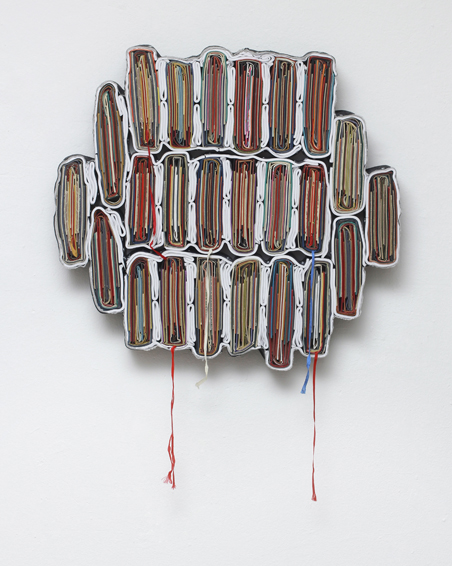 Side Effect, cut book covers, textiles, screws, app. Ø 60 x 6 cm, 2013