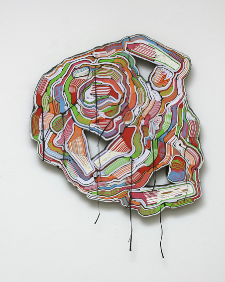 Skandal, cut books, textiles, screws, 86 x 76 x 6 cm, 2012