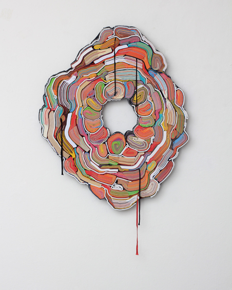 Smack bang in the middle, cut books, textiles, screws, app. 63 x 79 x 6 cm, 2013