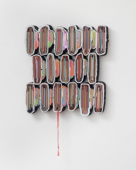 The Devils Teardrop, cut books, covers, textiles, screws, app. 57 x 49 x 6 cm, 2015
