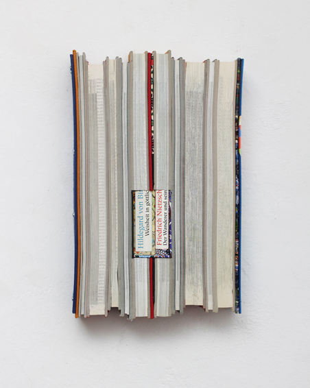Weisheit in Göttlichkeit, cut books, textiles, screws, app. 32 x 20 x 6 cm, 2015